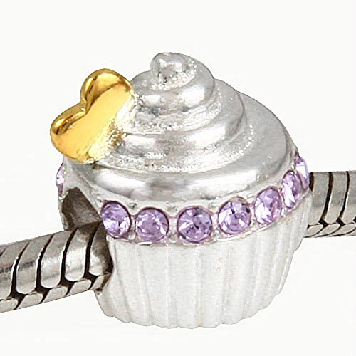 Gâteau d'anniversaire en argent sterling 925Cristal Violet perle Pandora Charms