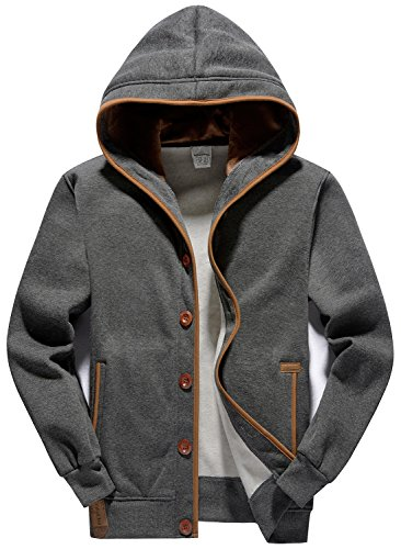 Fleece Button (YuKaiChen Men's Fleece Hoodie Button-Fly Jacket Hooded Sweatshirt Grey Medium)