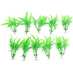 TOOGOO 10 pcs aquarium decoration plastic plant green sucker base stand well