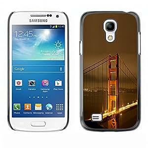KOKO CASE / Samsung Galaxy S4 Mini i9190 MINI VERSION! / Puente de San larga cielo dorado fransisco noche / Delgado Negro Plástico caso cubierta Shell Armor Funda Case Cover