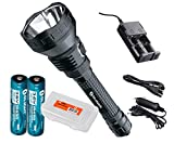 Rechargeable Bundle: Olight M3XS-UT Javelot 1200 Lumens, Two Genuine Olight 3400mAh 18650 Batteries, a Smart Charger w/ Car Adapter, LumenTac Battery Case