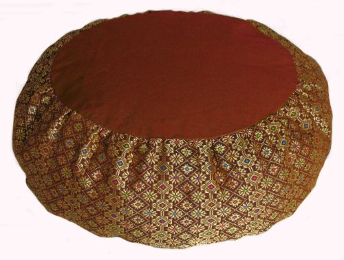 Meditation Cushion Zafu Pillow Buckwheat - Silk Brocade Saffron