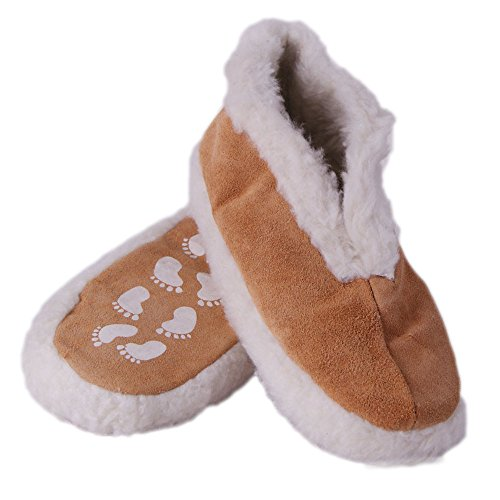 Real Leather Slippers Warm Slippers Slipper Socks Slippers Size 8-24 with ABS Stoppers Beige v5Da5