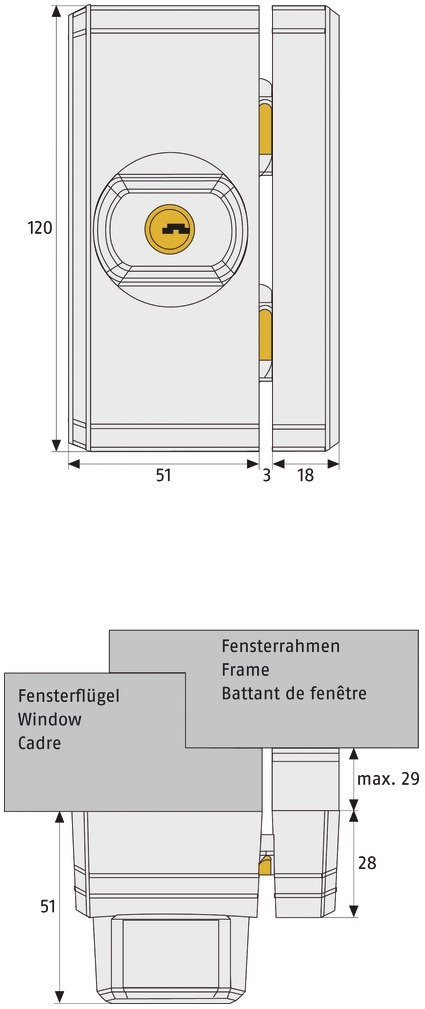 111976 verschiedenschlie/ßend ABUS Fenster-Zusatzschloss FTS96 braun