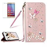 Girlyard For HUAWEI P10 LITE Diamond Wallet Leather Case Cover Bling Glitter Crystal PU Leather Folio Flip Stand Protective Magnetic Case Cover with Wrist Strap and Card Slots Rose Gold Butterfly Flower