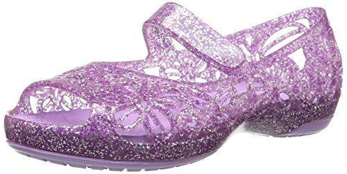 Crocs Girls Isabella Glitter Flat PS Ballet, neon Purple, 8 M US Toddler -