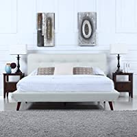 Mid-Century Ivory Linen Low Profile Platform Bed Frame with Tufted Headboard Design (Cal King)