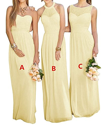 Cdress Women's Sweetheart Chiffon Long Wedding Bridesmaid Dresses Formal Party Gowns Yellow-A US 8