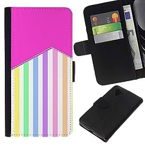 A-type (Stripes Pattern Pastel Colorful Happy) Colorida Impresión Funda Cuero Monedero Caja Bolsa Cubierta Caja Piel Card Slots Para LG Nexus 5 D820 D821