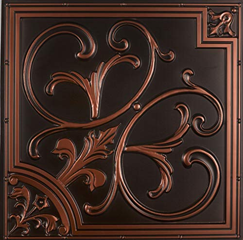 From Plain To Beautiful In Hours 204ac-24x24 Ceiling Tile, Antique Copper