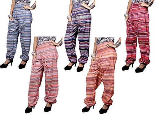 5pcs Yoga Trouser Baggy Genie Harem Striped Design Pants Boho Hippie Gypsy India Wholesale Lot (Multi-5) For Sale