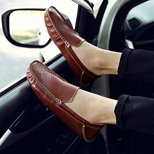 Abby 1717 Mens Mode En Cuir Mocassins Casual Doux Trous Slip-on Mocassins Chaussures De Conducteur Marron