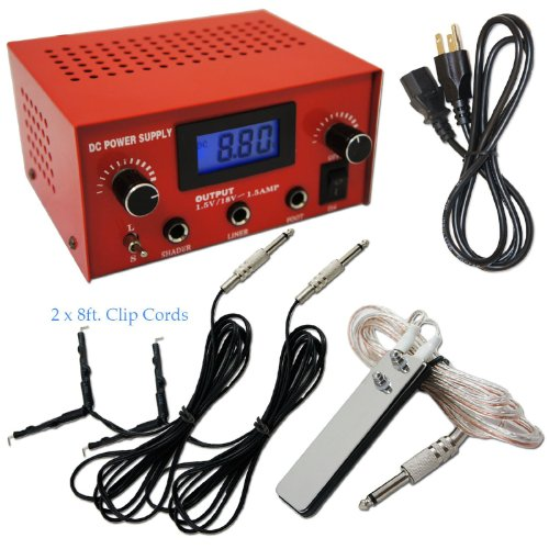 Red Dual Digital LCD Tattoo Machine Power Supply w/ Stainless Steel Pedal & Clip Cord, OTW-P008-3R.1