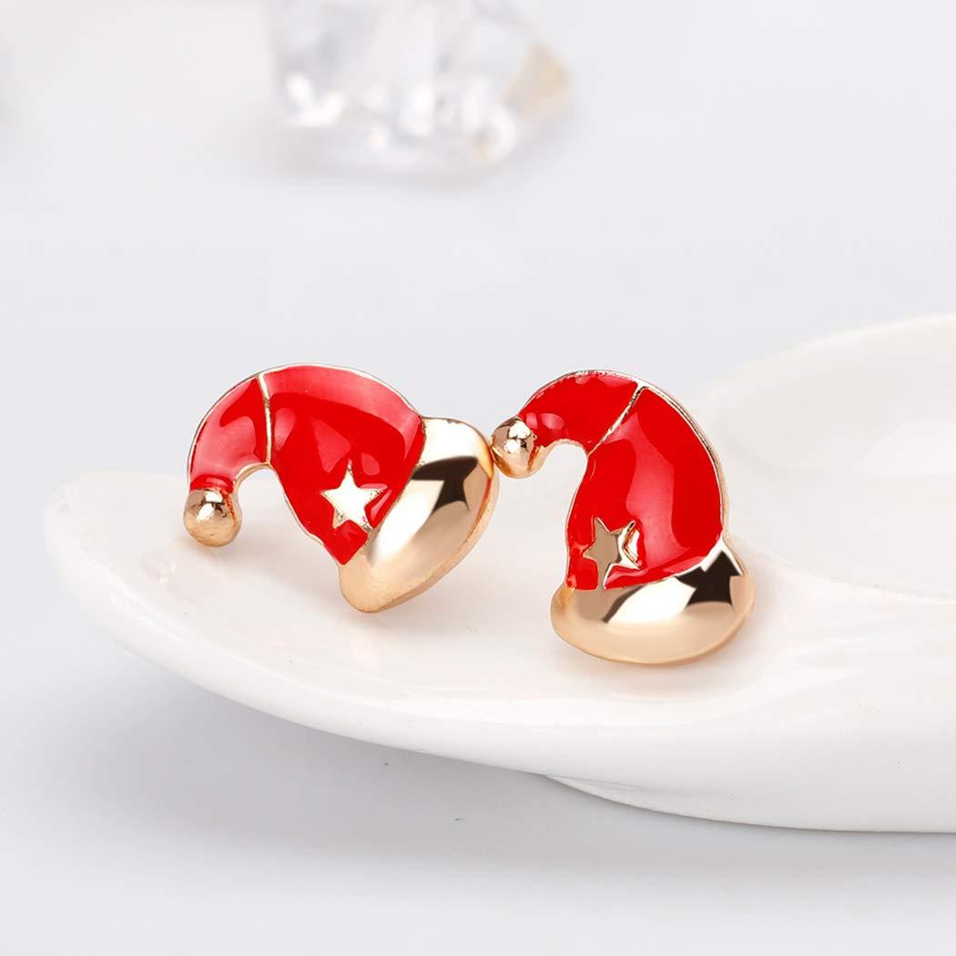 HANMAX Women Christmas Jewelry Decor Girls Christmas Hat Earrings