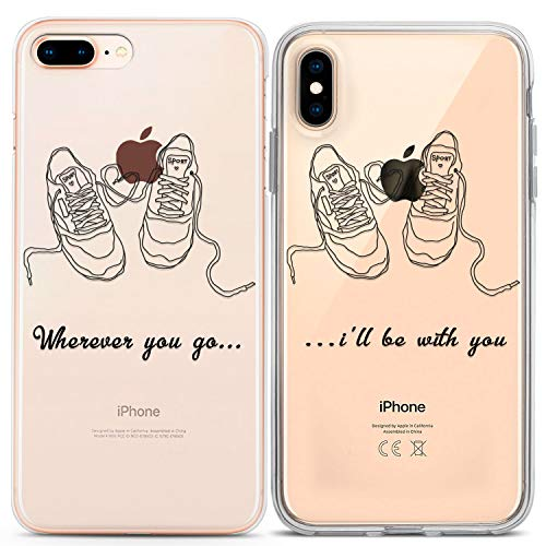 Lex Altern TPU Case for Apple iPhone Xs Max Xr X 10 8 Plus 7 6s 6 SE 5s 5 Lovely Quote Sneakers Drawing Best Friends Print Protective Teen Cover Matching Clear Phone Silicone Girlfriend Gift Couple
