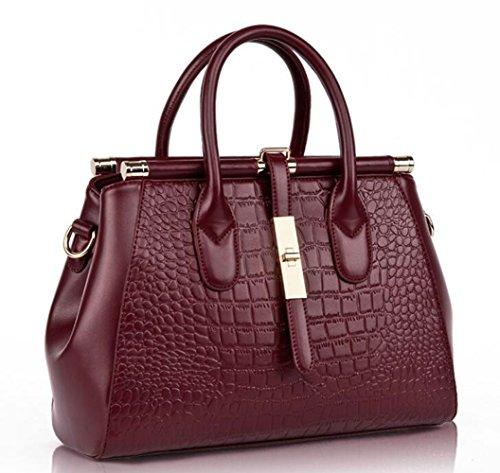 en main Convient à à Crocodile un bandoulière sac à cuir sac pour les tout usage pour sac élégant femmes pour Grande les bandoulière main gaufré fourre capacité sac Rouge sacs poignée Vin filles quotidien nTx5wIazpq