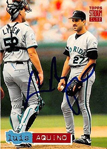 Luis Aquino Autographed Baseball Card Florida Marlins 1994 Topps
