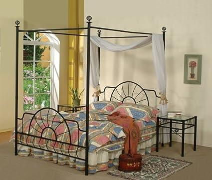 Amazon Com Black Metal Sunburst Canopy Bed Full Size Bed Frame