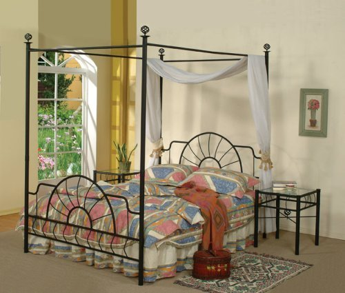 amazoncom black metal sunburst canopy bed full size bed frame kitchen dining - Iron Canopy Bed Frame