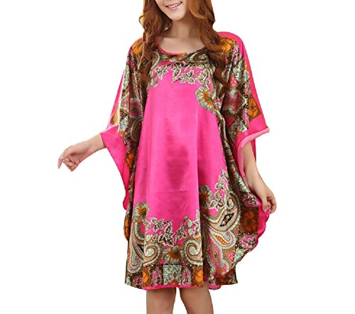 SexyTown Women's Soft Silk Robe Printed Sleepwear Dress Batwing Sleeve Nightgown (X-Large, Style2-Rose) (Silk Printed Dress)