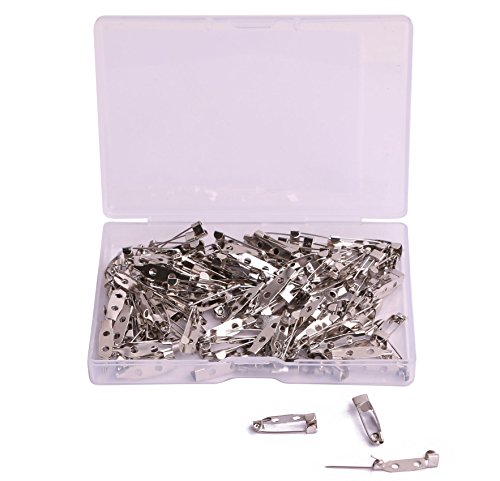 Craft Badges (Shapenty 120PCS Small Metal Double Hole DIY Craft Brooch ID Name Badge Safety Catch Locking Pins Back Clasp Blank Pin Backing for Jewelry Findings (Silver Tone, 0.75 Inch))
