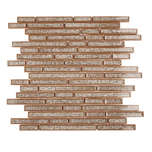 Crackled Glass Mosaic Tile, IL 809- Traverse, Mixed stips, 12