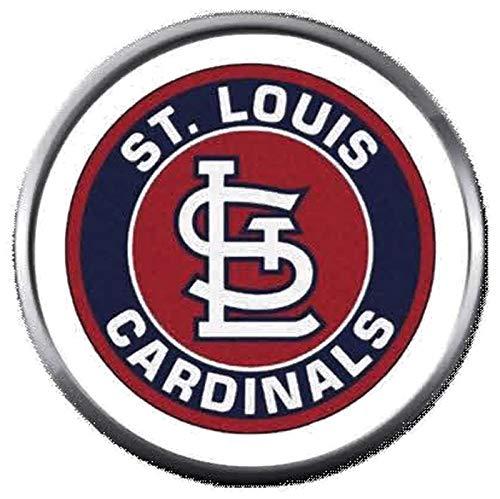 (MLB St Louis Cardinals Baseball Cool Circle Logo 18MM - 20MM Snap Jewelry Charm)