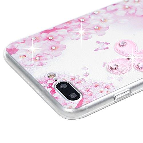 """Mavis's Diary Coque iPhone 7 Plus (5.5"""") PC Rigide Bling Strass Fleur Papillon Dessin Housse de Protection Étui Téléphone Portable Phone Case Cover+Chiffon"""