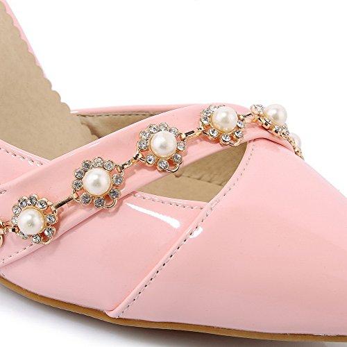 VogueZone009 Damen Lackleder Spitz Zehe Hoher Absatz Rein Pumps Schuhe Pink