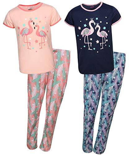 dELiAs 2-Pack Girls Pajama Sleepwear Sets (2 Full Sets), Flamingo, Size - Pajamas Flamingo