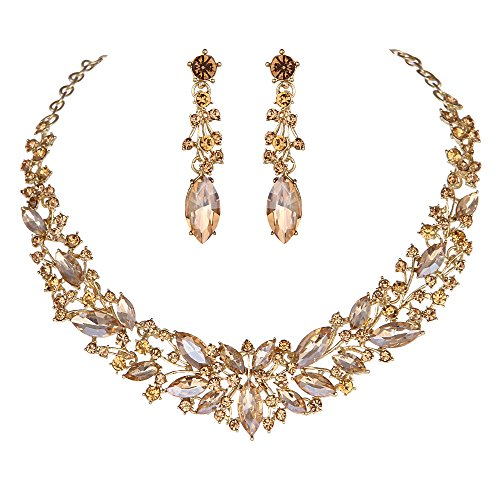 Youfir Austrian Crystal Rhinestone Bridal Wedding Necklace and Earrings Jewelry Sets for Women - Crystal Champagne Gold