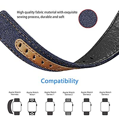 Jobese Compatible with Apple Watch Band 42mm/44mm 38mm/40mm, Classic Canvas Fabric Straps Genuine Leather Compatible with Apple Watch Series 4, Series 3, Series 2, Series 1, Sports Wristbands