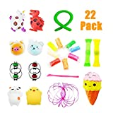 VORRTE 22 Pack Sensory Fidget Toys Set-Bike Chain/Unicorn and Dinosaur Squeeze Grape Ball/Mesh &Marble Toy/Magic Ring/Squishy Toy for ADD ADHD, Bundles Toys,Stretch Toys for Children/Adult