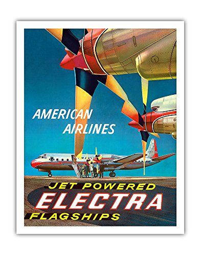 Electra American Airlines - American Airlines - Jet Powered Electra Flagships - Lockheed L-188s - Vintage Airline Travel Poster by Walter Bomar c.1950s - Fine Art Print - 11in x 14in