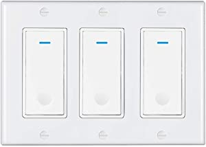 Esmlfe WiFi Smart Light Switch 3 Gang(NOT 3-Way),Smart WiFi Light Switch Tuya App Compatible with Alexa, Google Home and IFTTT, with Remote Control and Timer, No Hub Required,Neutral Wire Required