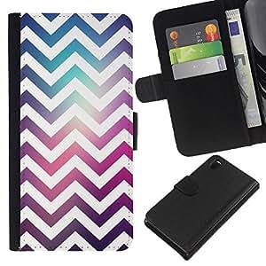 KLONGSHOP // Tirón de la caja Cartera de cuero con ranuras para tarjetas - Espacio púrpura del trullo Moda reflectante - Sony Xperia Z3 D6603 //