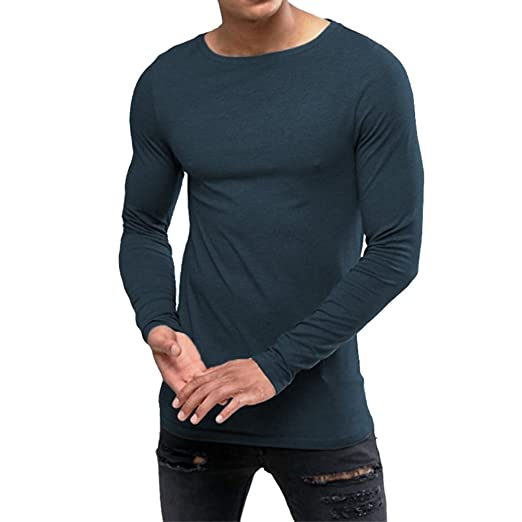 838b6740 OA ONRUSH AESTHETICS Men's Extreme Muscle Fit Long Sleeve T-Shirt with Boat  Neck Navy