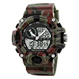 Fngeen Military Sports Watch Led Light Analog Digital Waterproof Alarm,Camouflage Green