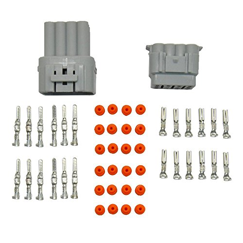 MUYI 5 Kit 12 Pin Way Superseal IP67 Waterproof Connector PA66 Nylon Housing Terminal Sockets AC/DC Conn Plug 2.2mm Series 11-21 AWG Gray