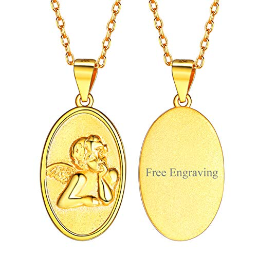 FaithHeart Custom Engraving 18K Gold Raphael Angel Pendant Necklace Gold Religious Christian Fine Jewelry for Women/Men, Customize Available (Send Gift ()