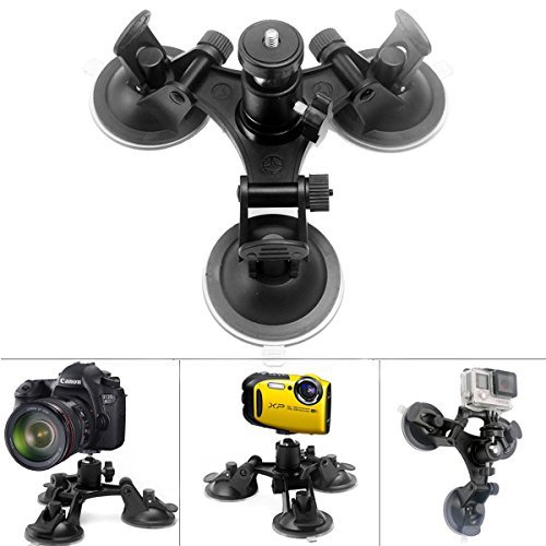 Fantaseal Waterproof Camera Suction Mount Underwater Camera Camcorder Vehicle Tri-cup Suction Mount w/ Ball Head Car Mount for Canon Fujifilm FinePix Kodak EasyShare Sport Olympus Suction Mount