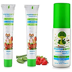 Mamaearth 100 Percent Natural Berry Blast Kids Toothpaste, 50g & Natural Insect Repellent for Babies (100 ml) Combo
