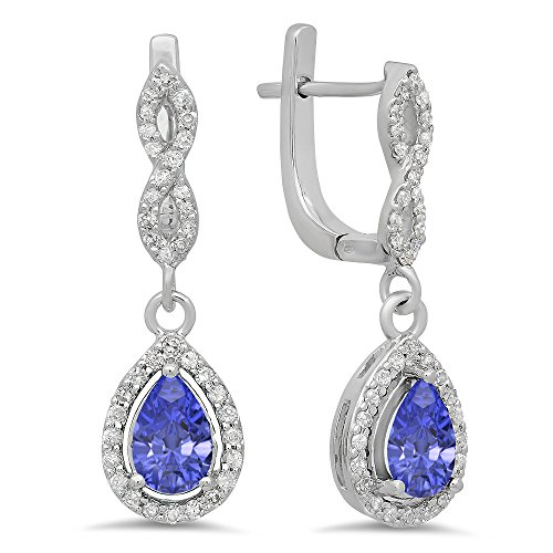 (Dazzlingrock Collection 14K Pear Tanzanite & Round White Diamond Ladies Halo Style Dangling Drop Earrings, White Gold)