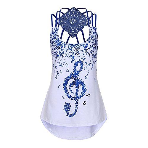 HGWXX7 Women's Casual Musical Note Print O Neck Sleeveless Blouse Vest Tank Tops (XXL, (Name Junior Ringer T-shirts)
