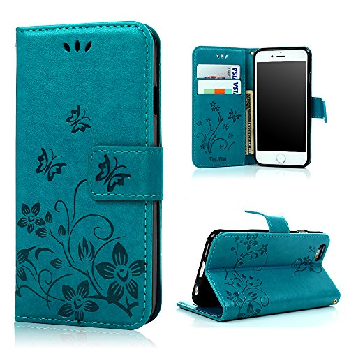 iPhone 6 Leather Case - Emixc Premium PU Leather Flip Folio Wallet Case Card Slot Kickstand Shock Absorbing Soft TPU Inner Bumper Protective Cover With Hand Strap For iPhone 6/6S 4.7 Inch