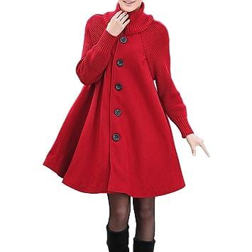 Niña Abrigo Invierno fashion fiesta,Sonnena ❤ Abrigo de color sólido con bolsillo para mujer Camisa suelta cómoda con botón Chaqueta de abrigo casual: ...