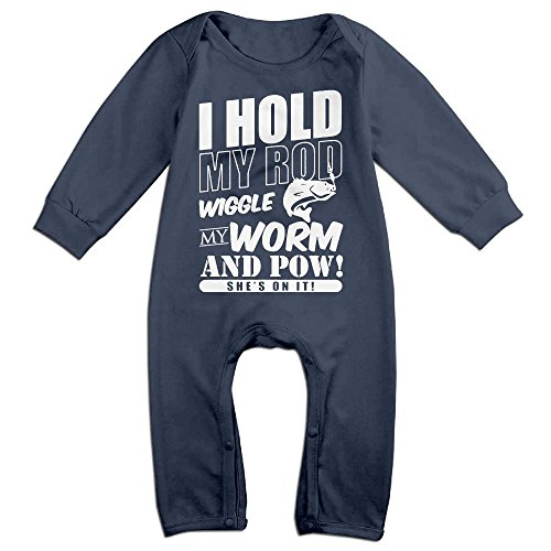 Wiggle Worm Infant Costumes (Baby Infant Romper I Hold My Rod Wiggle My Worm Long Sleeve Jumpsuit Costume Navy 24 Months)