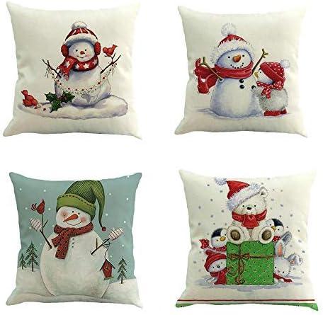 99AMZ 4 Pack Pillow Case - Feliz Navidad Papá Noel Invierno Throw ...