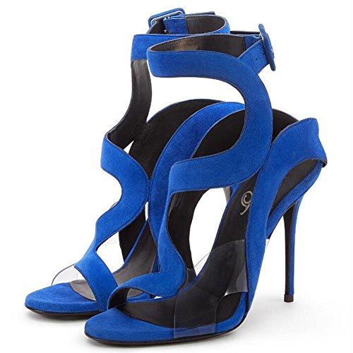 L@YC Mujeres De Verano Dedo Del Pie De Hebilla De TacóN De TacóN alto Sandalias De La Bomba De SatéN Boda Zapatos De Oficina Blue