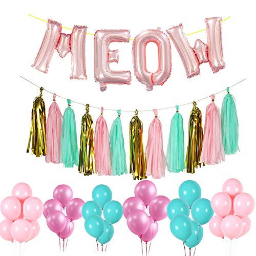 16 Inch Meow Cats Birthday Party Decorations Set, 30 Pieces Multicolor Latex Balloons 20 Pieces Paper Tassels Banner Cat Birthday Decors (Meow Cats Birthday)